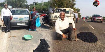 Senior Couple In Hyderabad Filling Potholes On Roads
